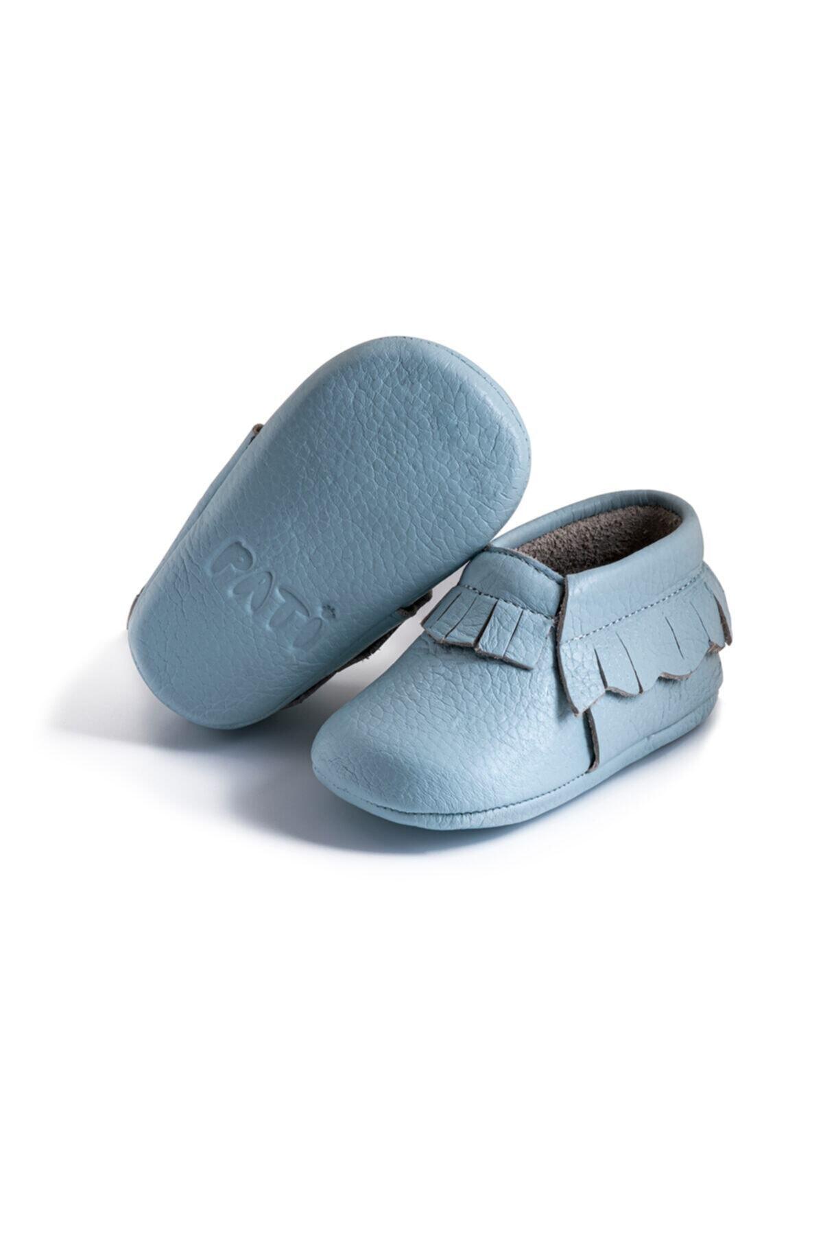 Pati Junior %100 Hakiki Deri Mavi Püsküllü Bebek Patik