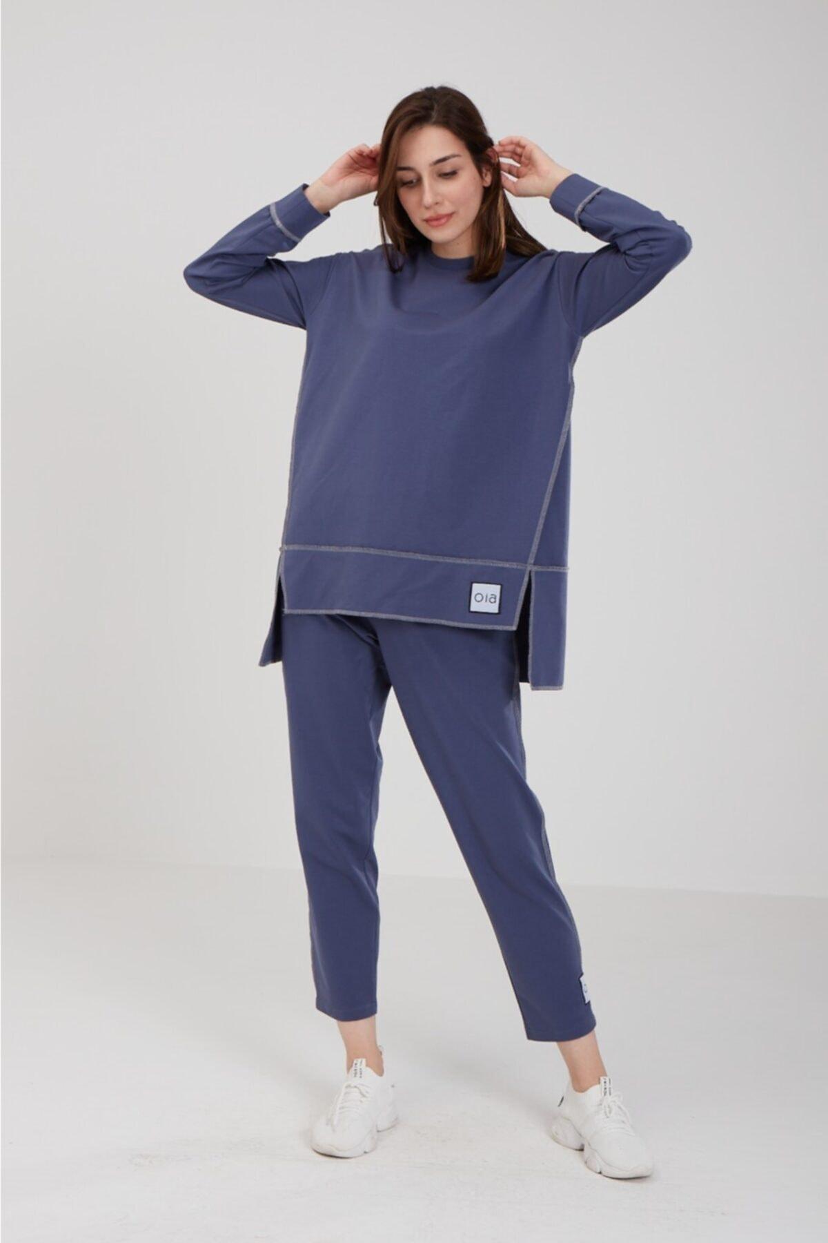 Kadın Indigo Pamuklu Tunik Pantolon Takım Eşofman