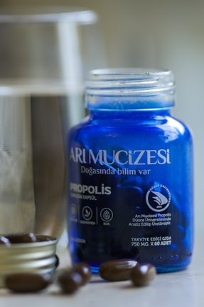 """Arı Mucizesi """"Propolis, Oleuropein ve Bor İçeren Takviye Edici Gıda  60 Yumuşak Kapsül x 750mg 1"""