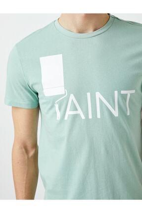 Koton Erkek Yeşil Yazı Baskılı Kısa Kollu Pamuklu T-Shirt 4