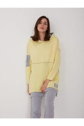 oia W-0900 Sarı Renk Pamuklu Tunik Pantolon Takım Eşofman Takım 3