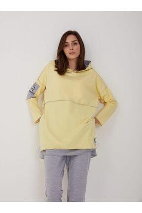 oia W-0900 Sarı Renk Pamuklu Tunik Pantolon Takım Eşofman Takım 4