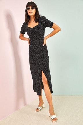 Bianco Lucci Kadın Siyah Desenli Önü Büzgülü Elbise 0