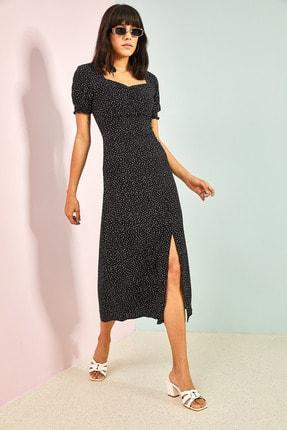 Bianco Lucci Kadın Siyah Desenli Önü Büzgülü Elbise 3