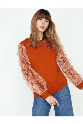 Koton Kadın Turuncu Dantel Detaylı Sweatshirt 0