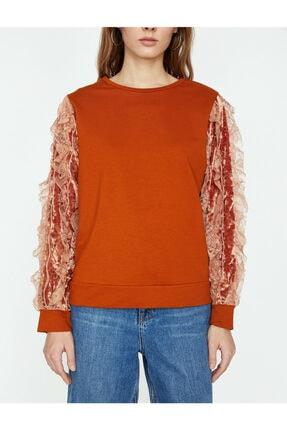 Koton Kadın Turuncu Dantel Detaylı Sweatshirt 2