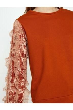 Koton Kadın Turuncu Dantel Detaylı Sweatshirt 4