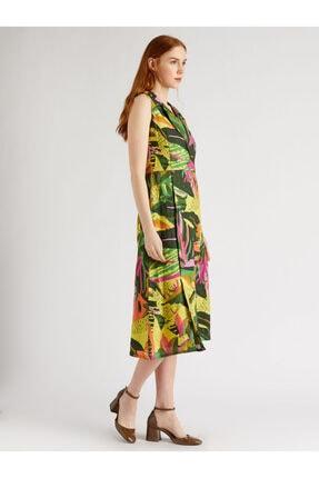 Vekem Kadın Yeşil Fuşya Desenli Sıfır Kol Anvelop Elbise 9109-0040 1