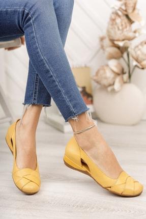 Deripabuc Hakiki Deri Sarı Kadın Deri Babet Trc-4000 1