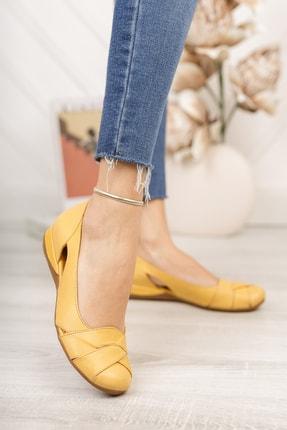 Deripabuc Hakiki Deri Sarı Kadın Deri Babet Trc-4000 2