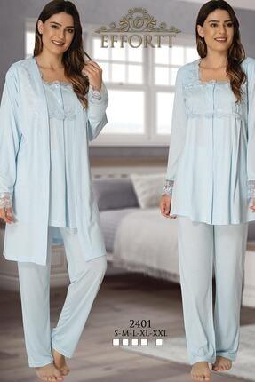 Effort Pijama Hamile Çarşı Effortt Lohusa Uzun Kol 3'lü Pijama Takım 0