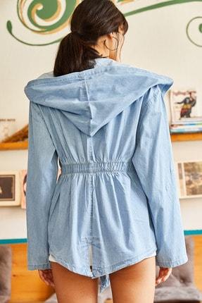Olalook Kadın Mavi Cepli Kuşaklı Beli Lastikli Baskılı Denim Ceket CKT-19000256 1