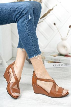 Deripabuc Hakiki Deri Taba Kadın Dolgu Topuklu Deri Sandalet Dp38-0115 0