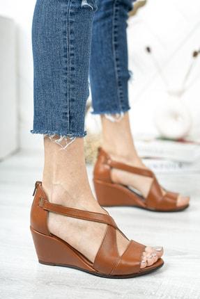 Deripabuc Hakiki Deri Taba Kadın Dolgu Topuklu Deri Sandalet Dp38-0115 2