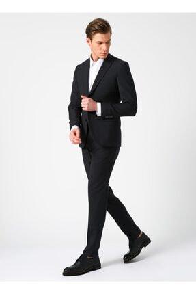 Antrasit Slim Fit Düz Takım Elbise resmi
