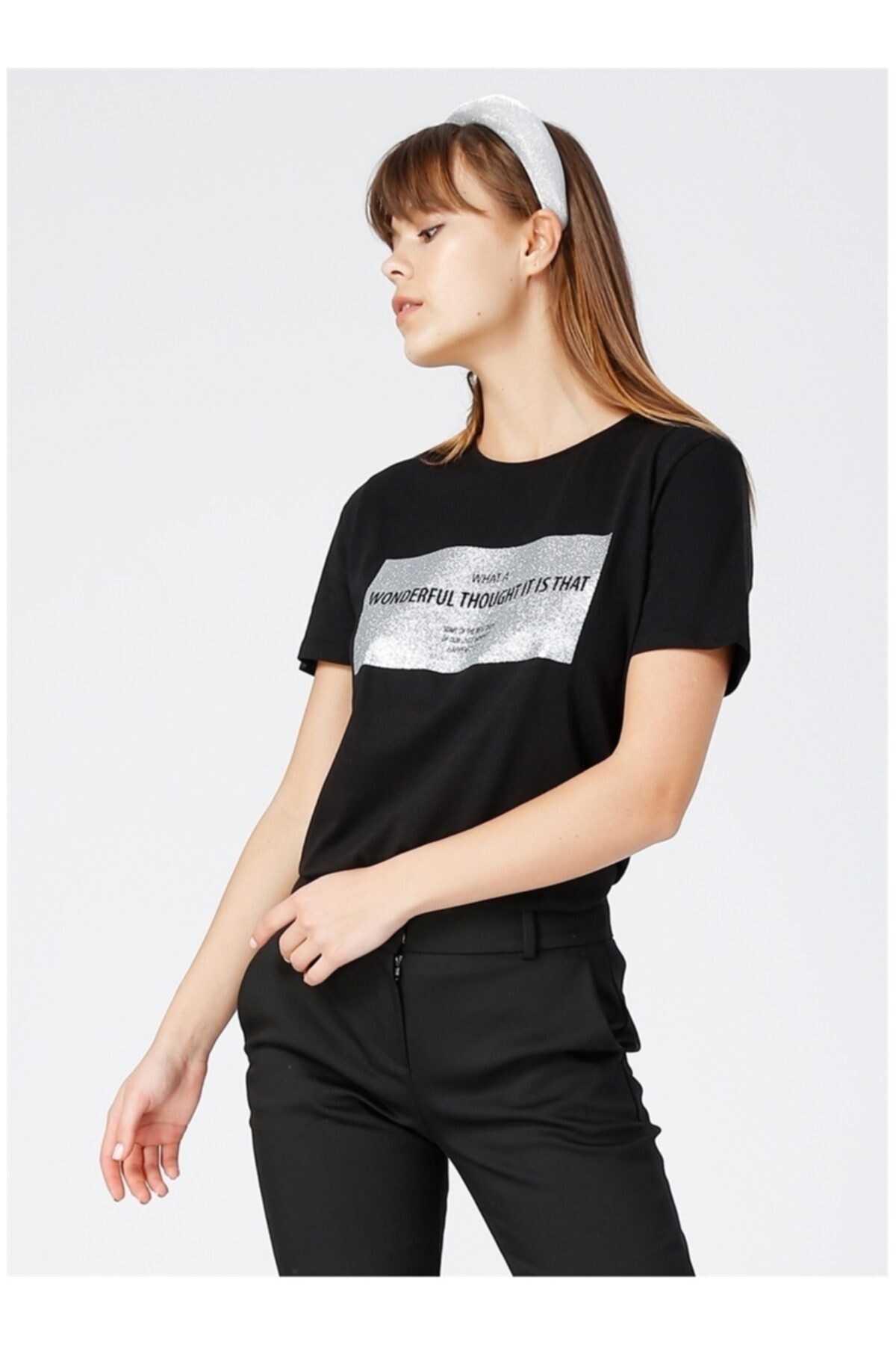 Kadın Siyah Kısa Kol T-Shirt