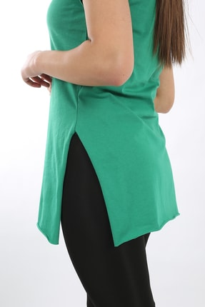 SARAMODEX Kadın Yeşil V Yaka Düz Renk Basic Tişört 1