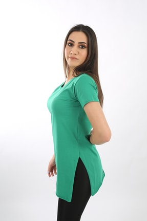SARAMODEX Kadın Yeşil V Yaka Düz Renk Basic Tişört 4