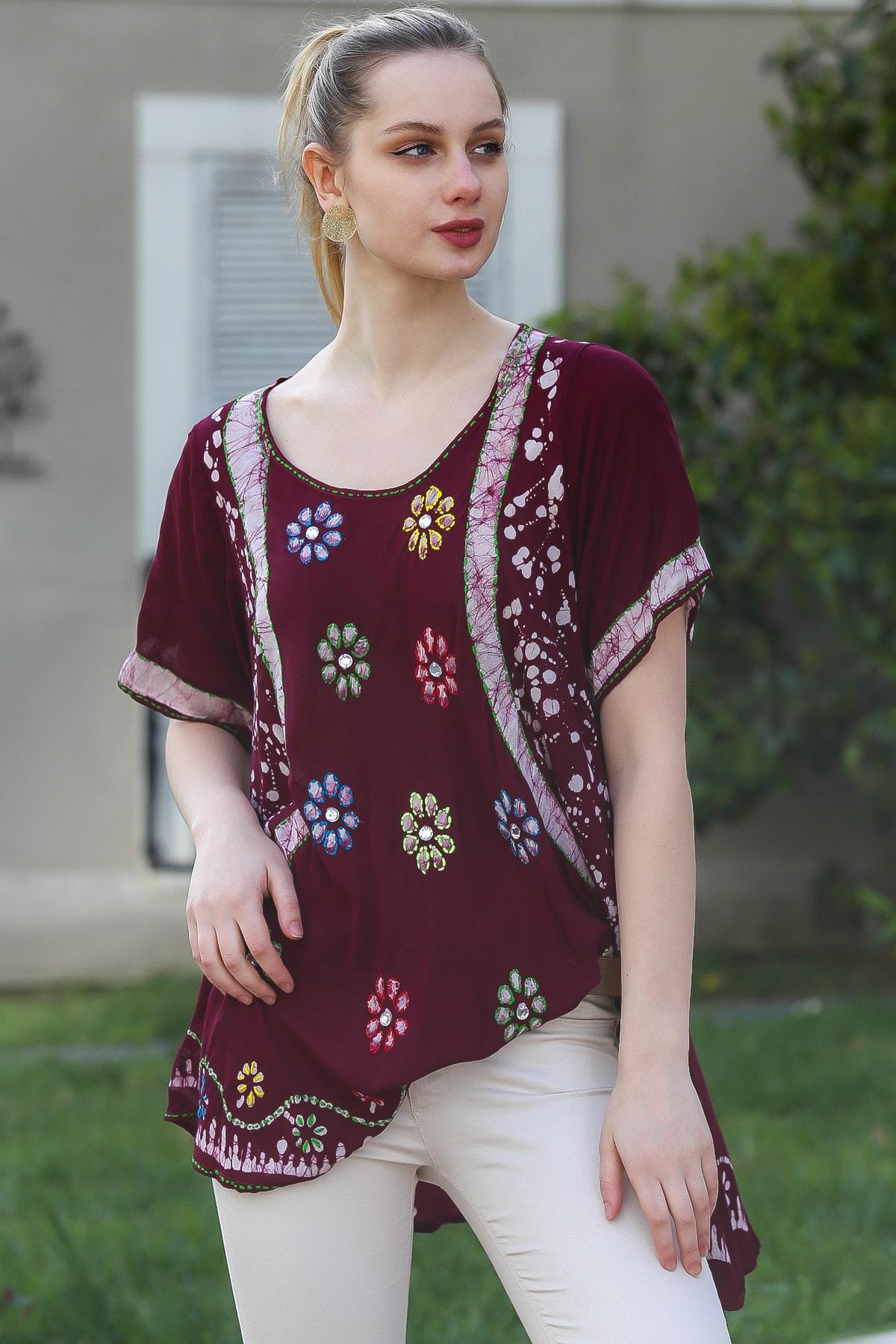 Chiccy Kadın Mürdüm U Yaka Çiçek Nakışlı Batik Desenli Salaş Tunik Bluz M10010200BL95380 1