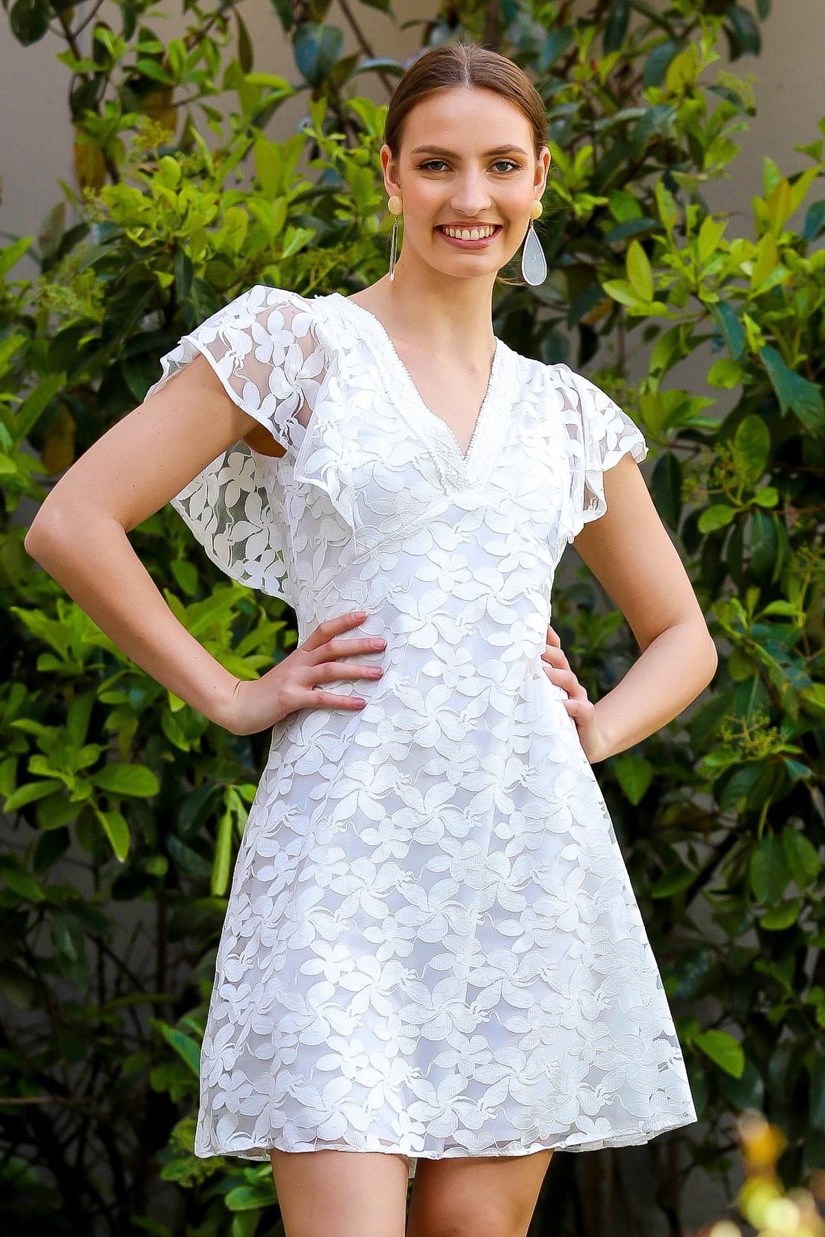 Kadın Beyaz Dantel Mendil Kol Astarlı Fermuarlı Kloş Elbise M10160000EL94957