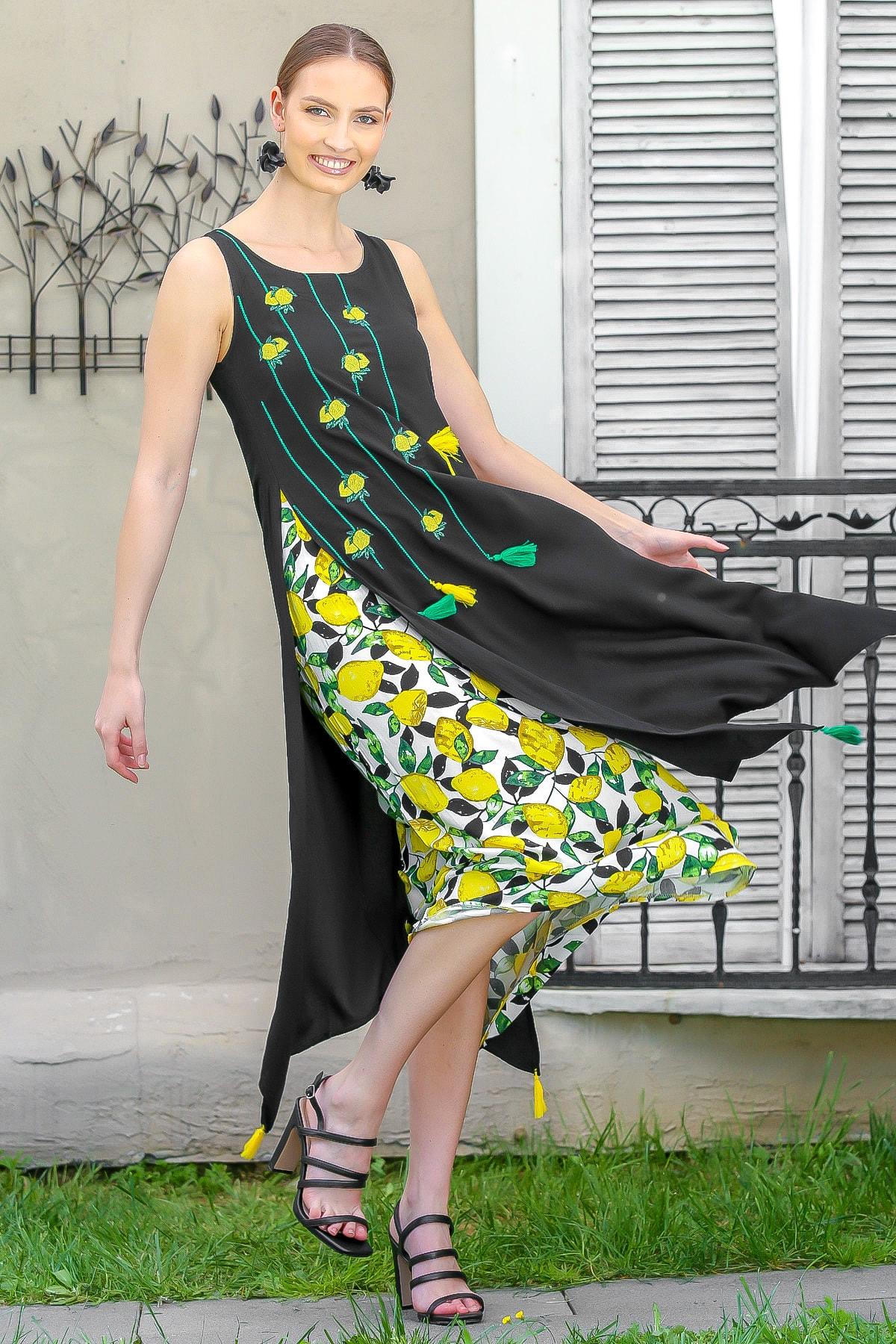 Kadın Siyah Limon Nakışlı İki Katlı Limon Desenli Dokuma Maxi Elbise M10160000EL95040
