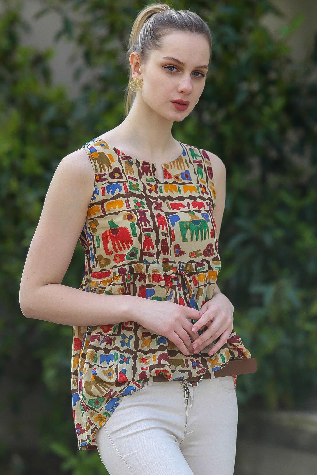 Chiccy Kadın Bej Sıfır Yaka Kolsuz Robası Büzgülü Fil Desenli Dokuma Bluz M10010200BL95381 3