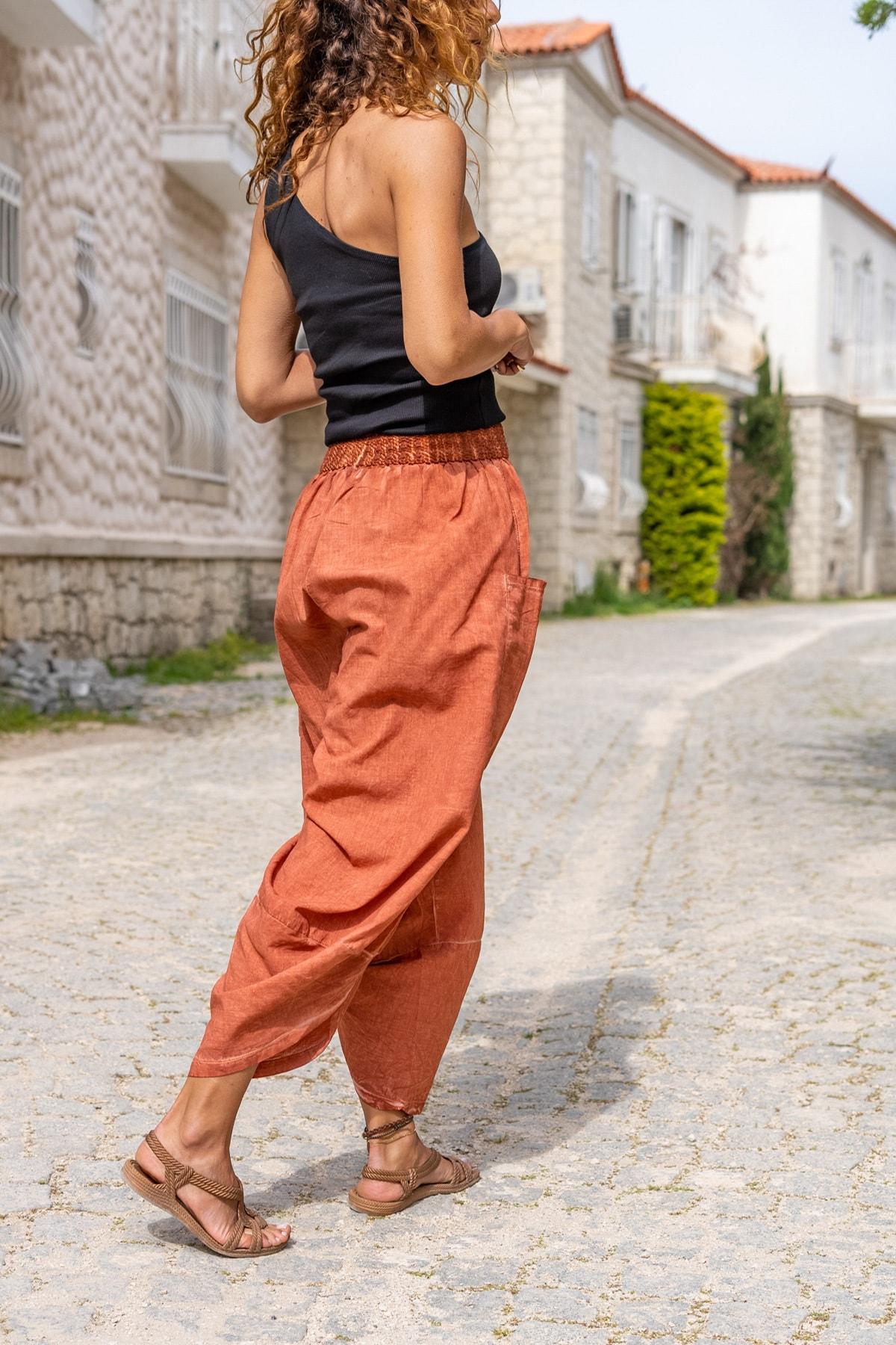 Güneşkızı Kadın Kiremit Yıkamalı Keten Cepli Beli Lastikli Şalvar Pantolon GK-CCK58048 2