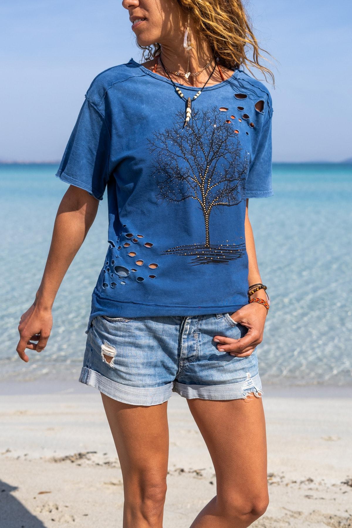 Güneşkızı Kadın İndigo Yıkamalı Yırtıklı İşlemeli T-Shirt GK-CCK58052 0