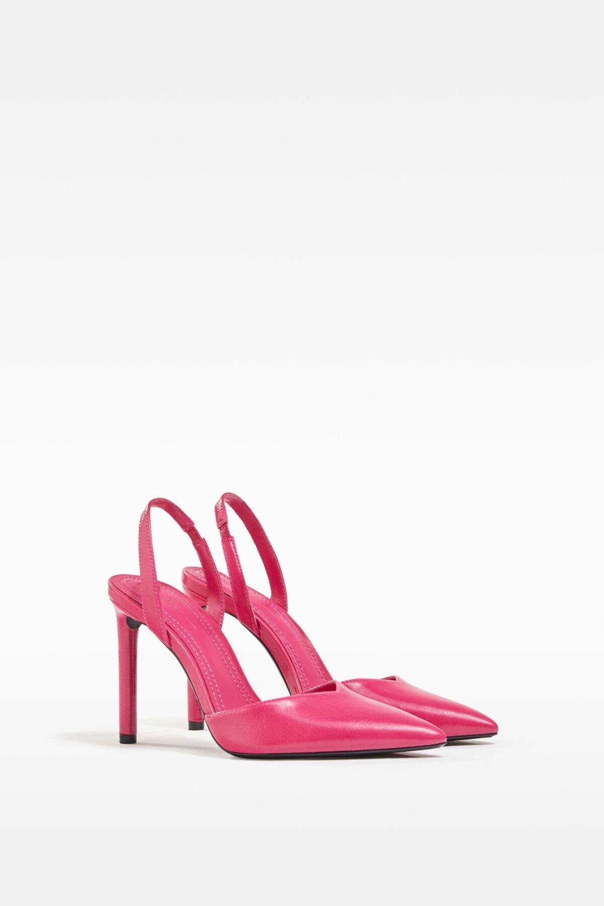 Bershka Kadın Fuşya Topuğu Açık, İnce Topuklu Ayakkabı 0