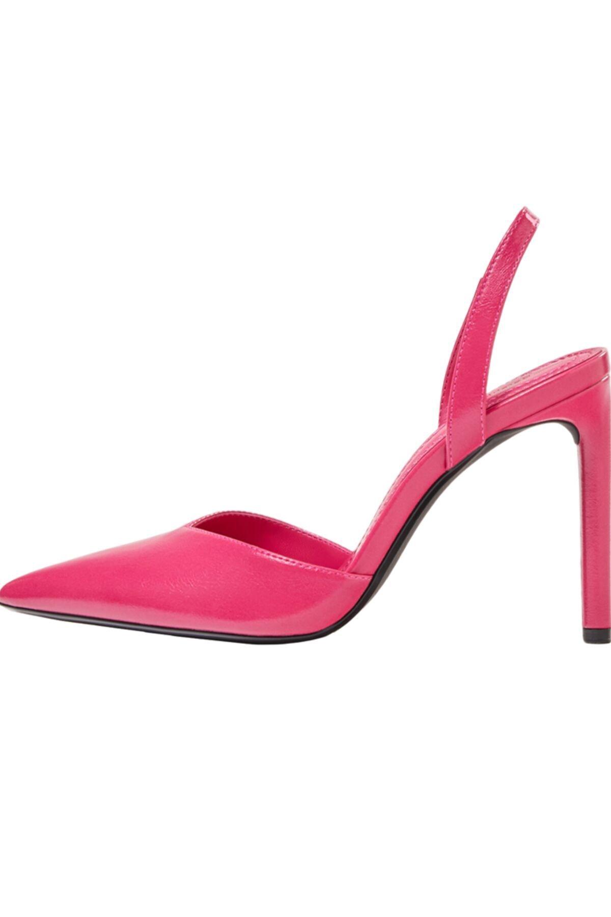 Bershka Kadın Fuşya Topuğu Açık, İnce Topuklu Ayakkabı 2
