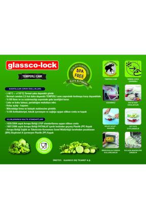 Glassco -lock Temperli Kilitli Saklama Kabı Dikdörtgen 1.220 Cc 2