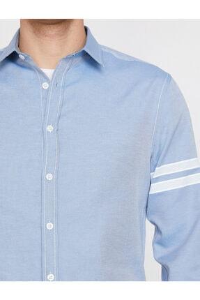 Koton Erkek Mavi Klasik Yaka Uzun Kollu Çizgili Shirt 9YAM64052OW 4