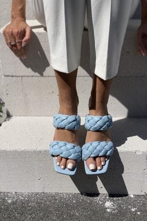 İnan Ayakkabı Kadın Mavi Önlü Arkalı Örgü Detaylı Terlik 2