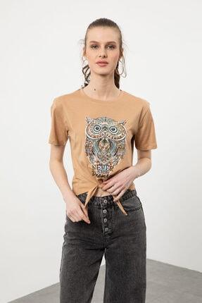 Arma Life Kadın Kahverengi Taşlı Baykuş Baskılı Bağlamalı T-shirt 1