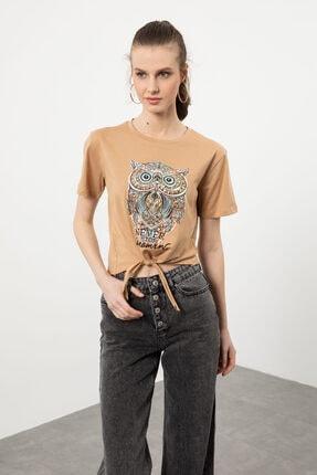 Arma Life Kadın Kahverengi Taşlı Baykuş Baskılı Bağlamalı T-shirt 2
