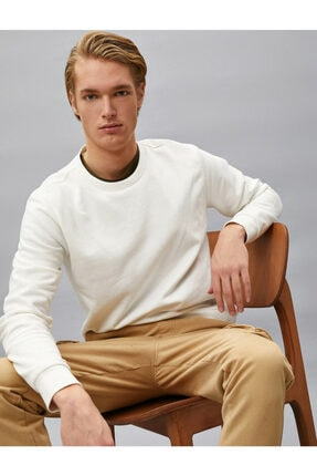 Koton Erkek Beyaz Pamuklu Basic Bisiklet Yaka Uzun Kollu Sweatshirt 0