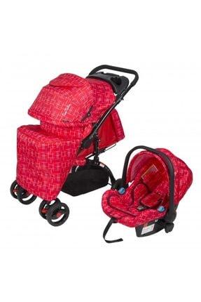 Pc409 Aloin Travel Sistem Bebek Arabası - Kırçıllı Kırmızı 6588544683888