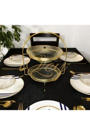 iQeyHome 2 Katlı Gold Etajer / Sunumluk / Ikramlık Stand 1