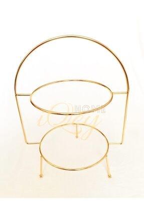 iQeyHome 2 Katlı Gold Etajer / Sunumluk / Ikramlık Stand 2