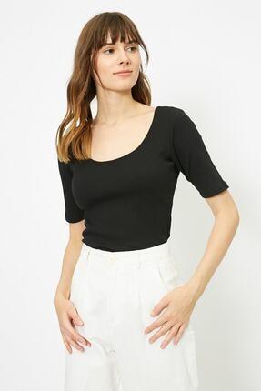 Koton Kadın Siyah T-Shirt 0YAK13390YS 1