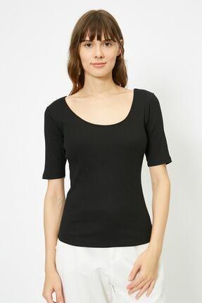 Koton Kadın Siyah T-Shirt 0YAK13390YS 2