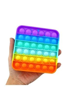 SİNKA Pop It Push Bubble Fidget Pop Duyusal Oyuncak Zihinsel Stres Rainbow Renk Kare Eğitici 1