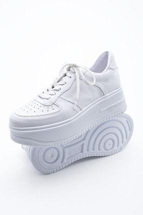 Marjin Kadın Sneaker Dolgu Topuk Spor Ayakkabı PinleBeyaz 0