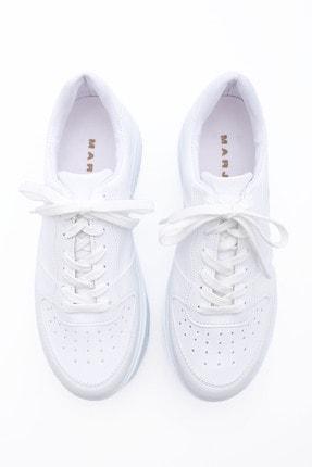 Marjin Kadın Sneaker Dolgu Topuk Spor Ayakkabı PinleBeyaz 4