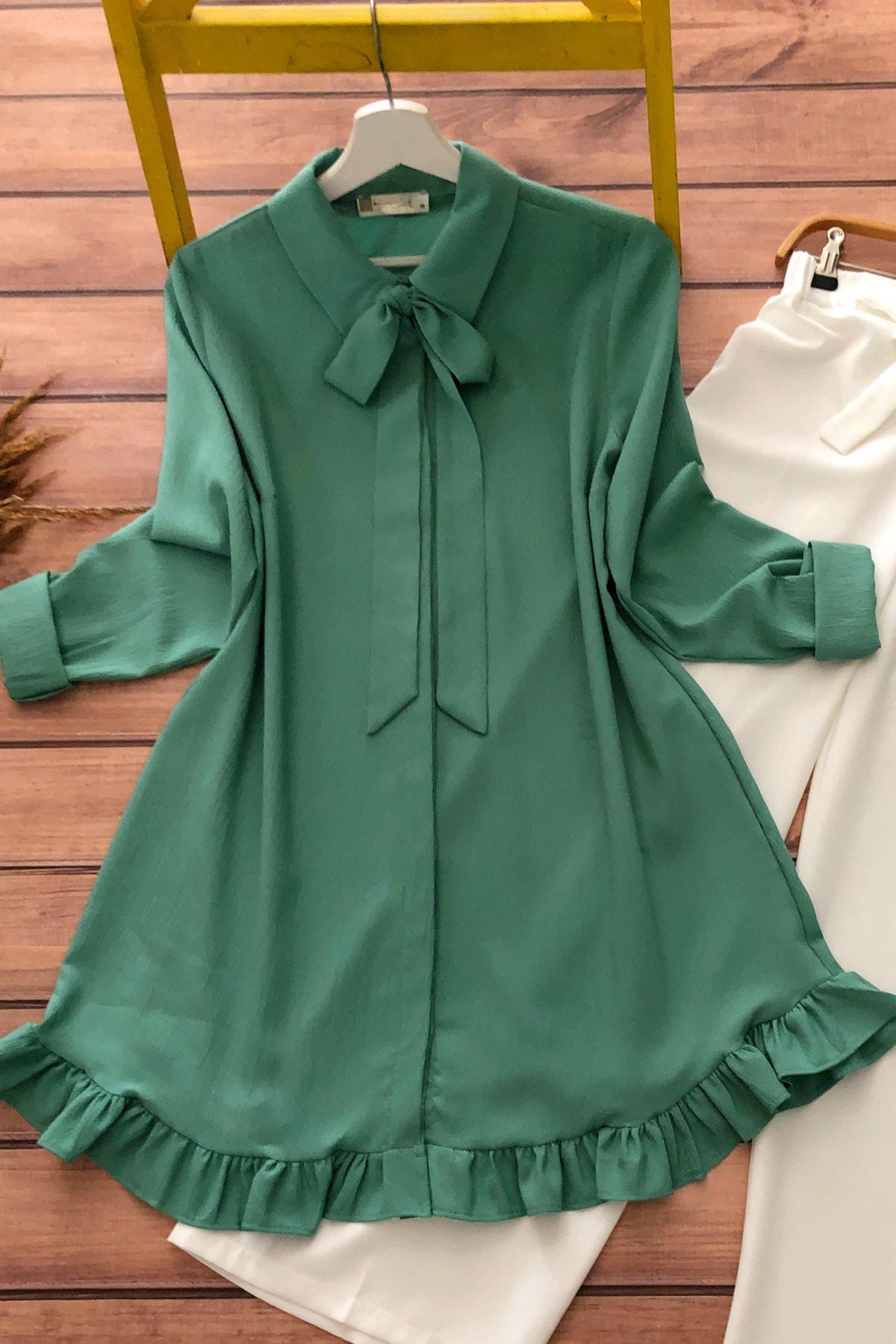 Kadın Yeşil Fırfırlı Tunik Mq3989