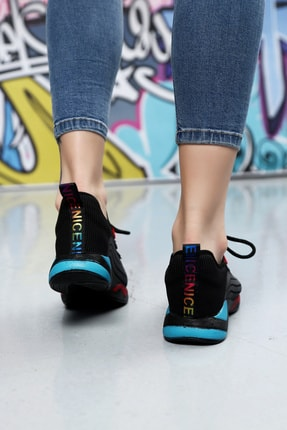 Ayakkabı Modası Kadın Siyah Düz Taban Sneaker 2