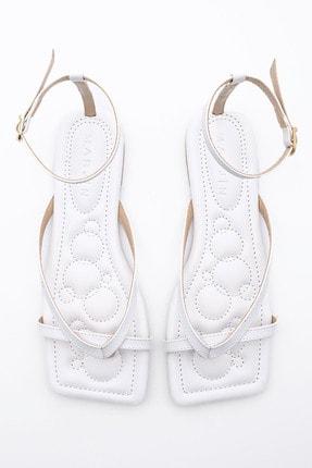 Marjin Kadın Beyaz Parmak Arası Sandalet Parfi 4