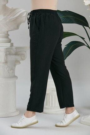 Rmg Kadın Siyah Beli Lastikli Bağcık Detaylı Pantolon 1