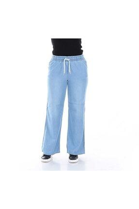 Kadın Açık Mavi Beli Lastikli Salaş Kot Pantolon AYD1219
