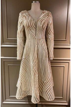 Kadın Altın Abiye Elbise 5004
